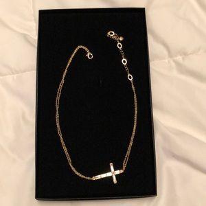 Beautiful Goldtone sideways cross necklace!!!